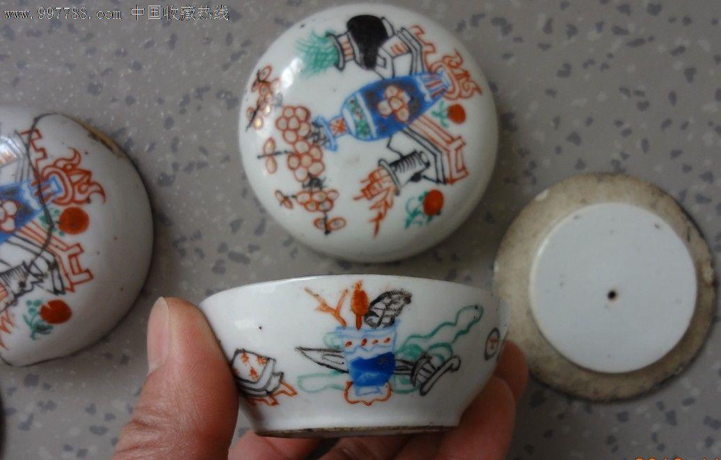 特价民国手绘八大山人彩色博古图粉盒一对包老彩色瓷器标本
