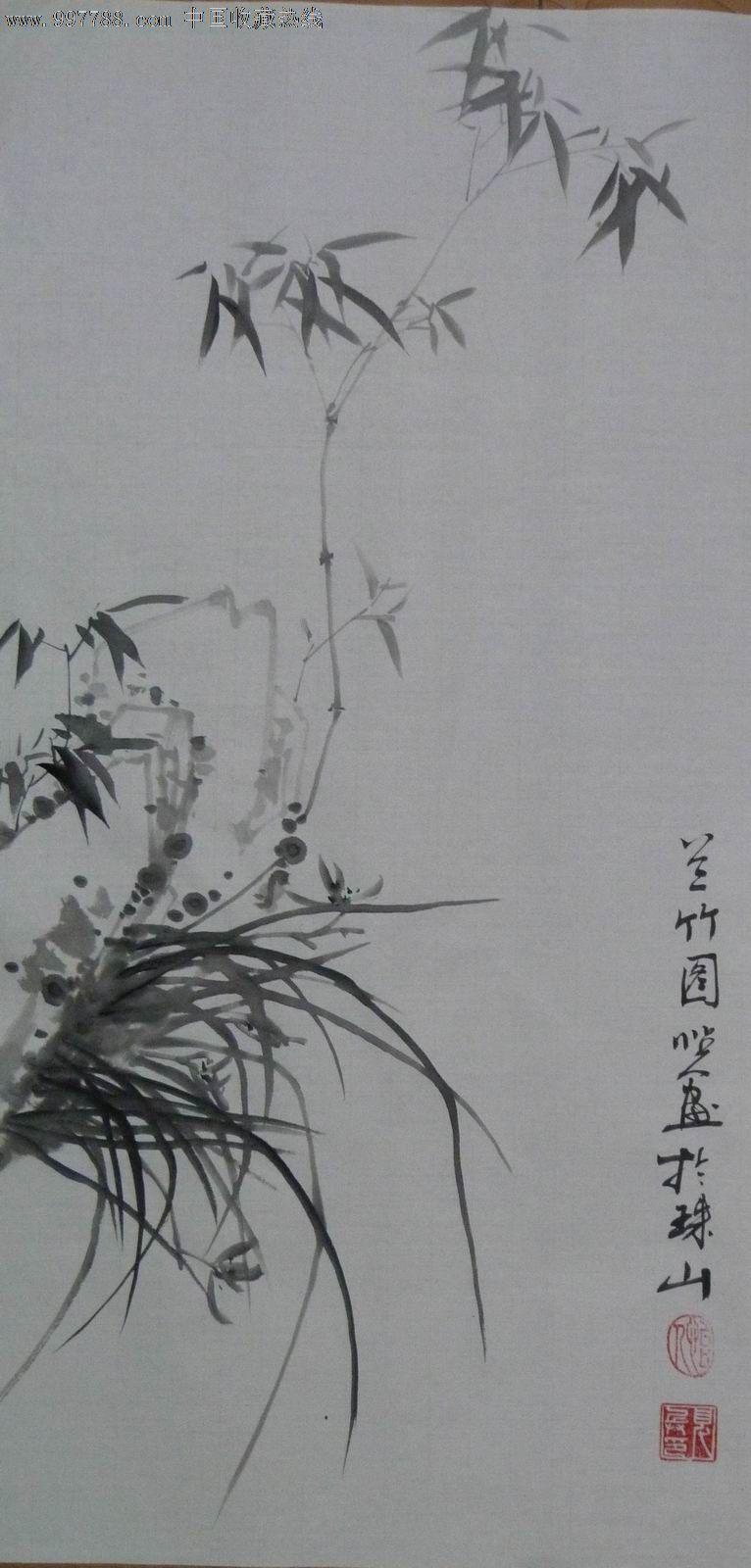 中国画写意花鸟画《兰竹图》