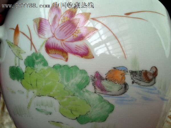 文革景德镇手绘粉彩鸳鸯戏水瓷器粥罐盖缸(缺盖)