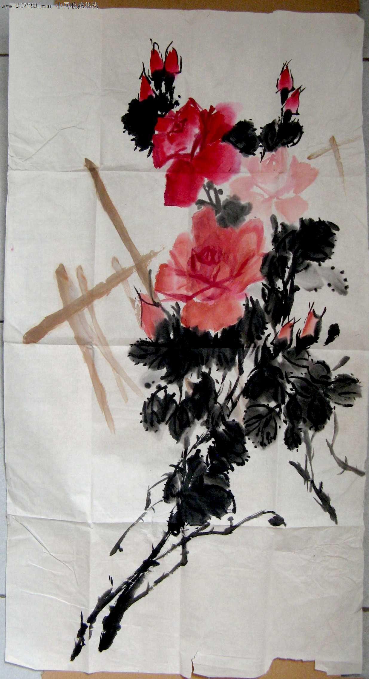 画得不错的三尺条幅玫瑰花画