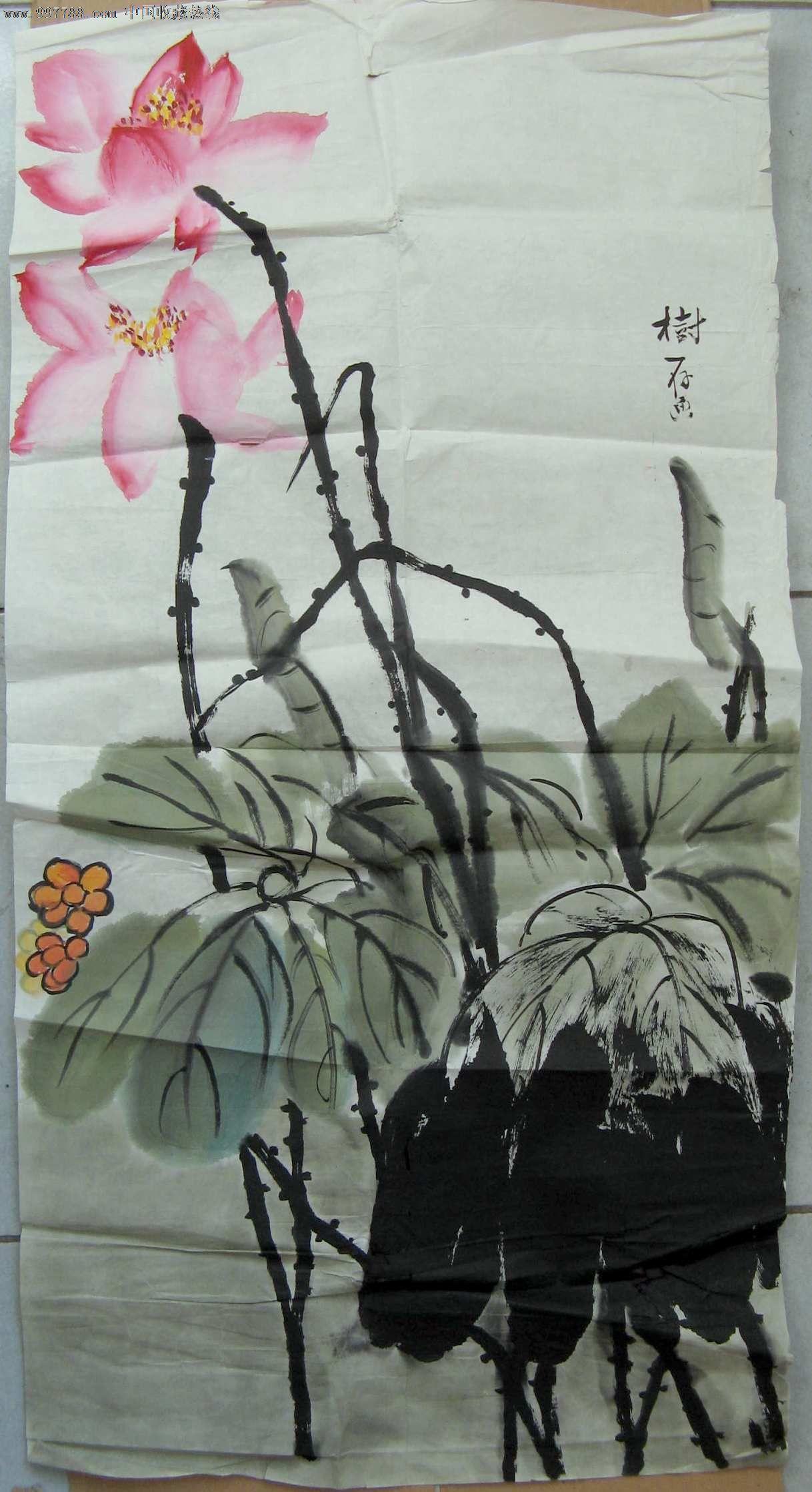 北京画家三尺条幅荷花图图片
