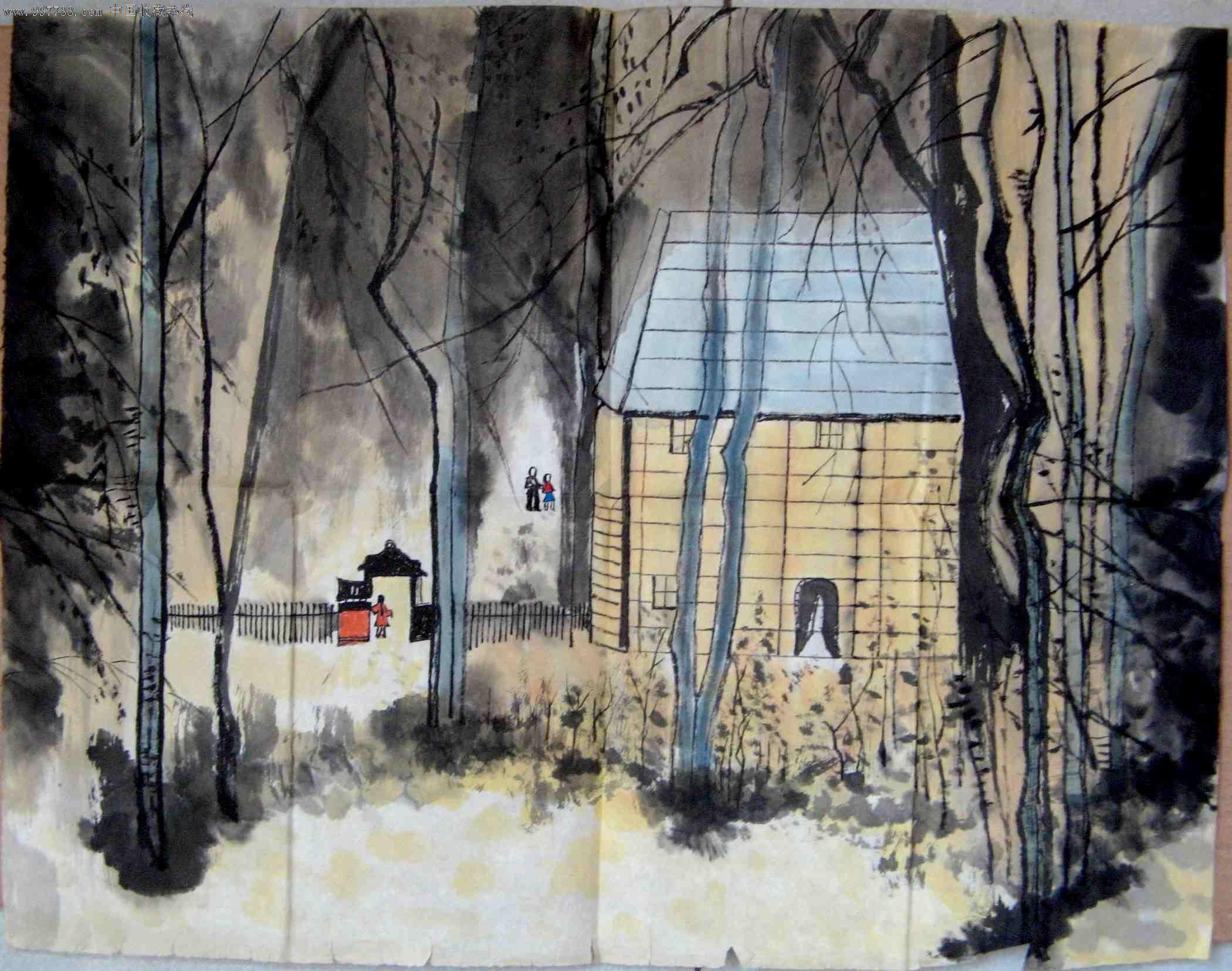不错的近四尺开三横幅无款水墨风景画:林中木屋