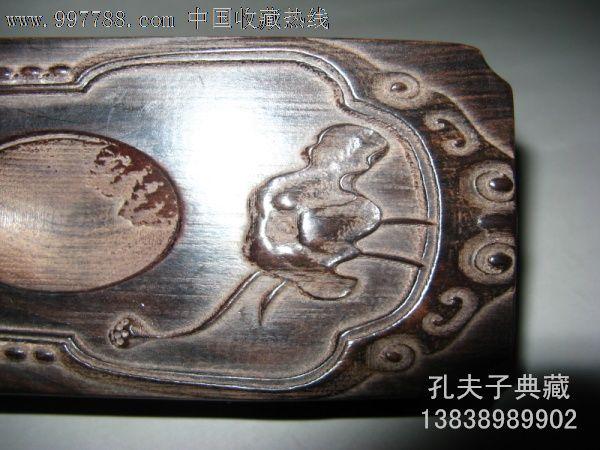老木器老木雕砚台摆件全手工雕刻浮雕龙戏珠文房四宝特价