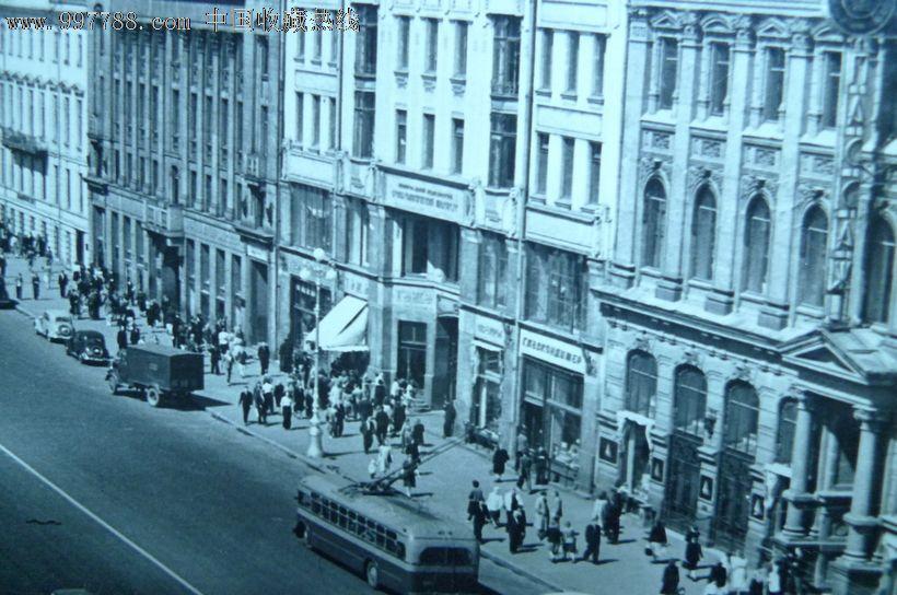前苏联老建筑物风光黑白相片2