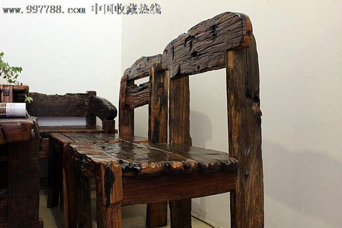 个性创意实木家具原生态古船木茶几沙发条凳展架七件套ywd109