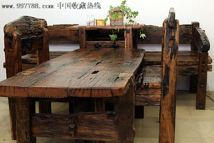 个性创意实木家具原生态古船木茶几沙发条凳展架七件套ywd109图片