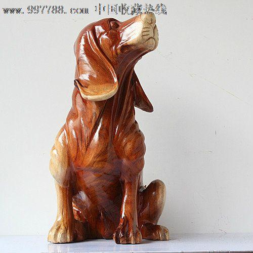 送礼佳品/实木雕刻艺术摆件香樟木雕狗生肖狗-ywd382小狗福来