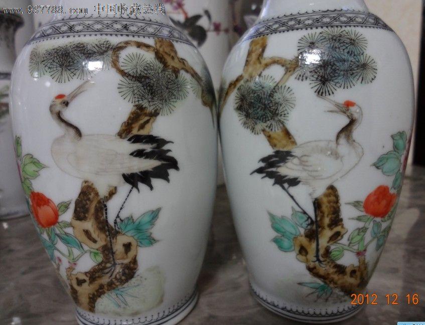粉彩手绘仙鹤松树花鸟图花瓶一对全品包老稀少大地风光好花开满园香