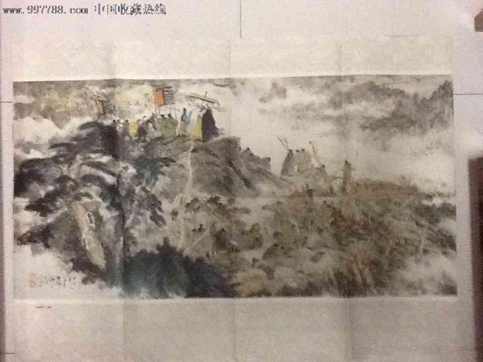 著名画家颜梅华画十面埋伏三大张的漫画倒贴图片
