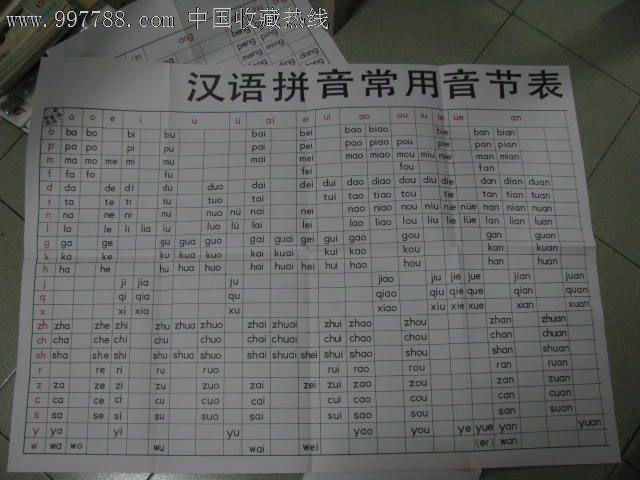 义务教育课程标准实验教科书语文/人教版教师用汉语拼音常用音节表图片