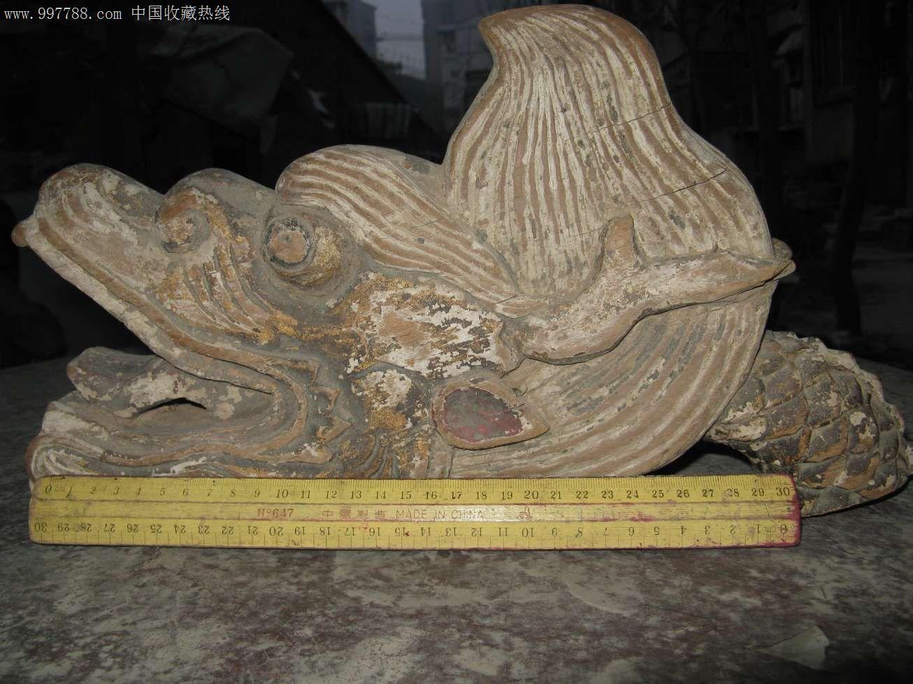 明代金丝楠木雕龙头仪仗