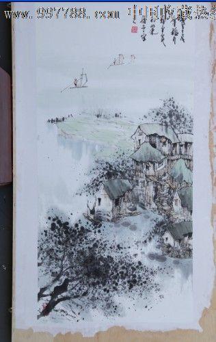 郑守宽三尺竖幅风景画山水画房子小船树
