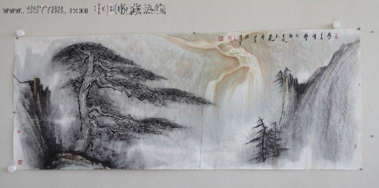 山水画横幅松树瀑布迎客松