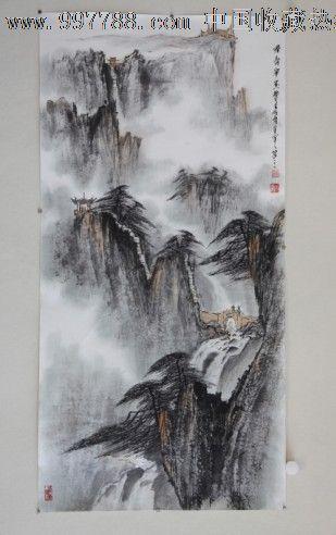 郑守宽三尺竖幅山水画作品国画水墨画