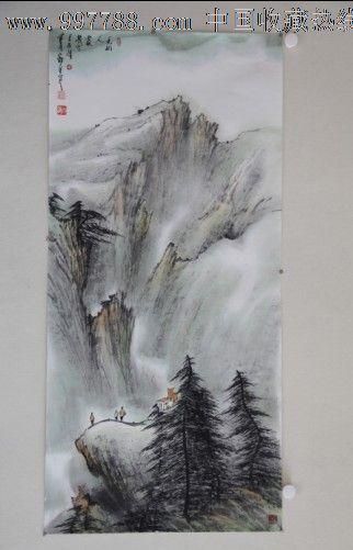 郑守宽三尺竖幅山水画作品国画松树