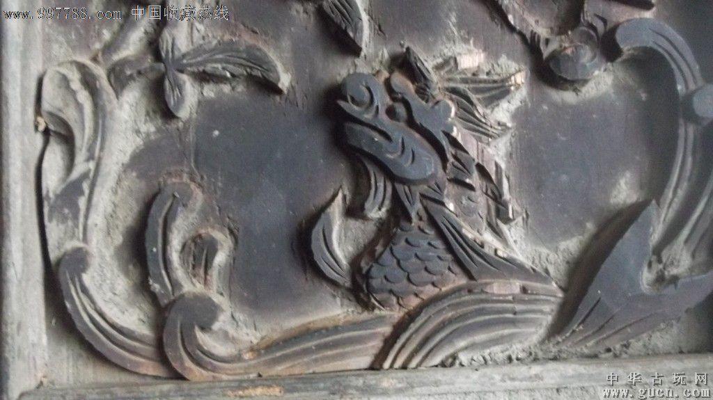 老木雕上面有一只龙,还有水浪,花草等,龙很威猛_议价_第2张_7788收藏