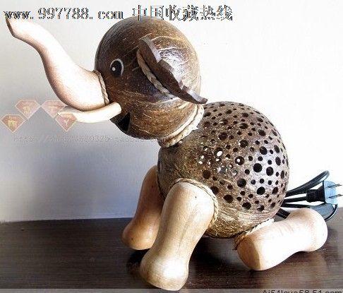 泰国纯手工椰灯椰子灯精品可爱小象灯