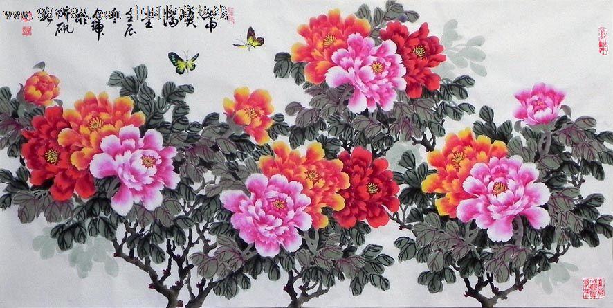收藏送礼佳品国画花鸟画名师陈贞瑞四尺写意牡丹
