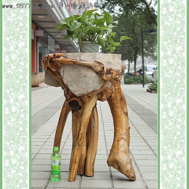 送礼佳品/天然根雕奇石/槐山树根抱石/艺术摆件花架花
