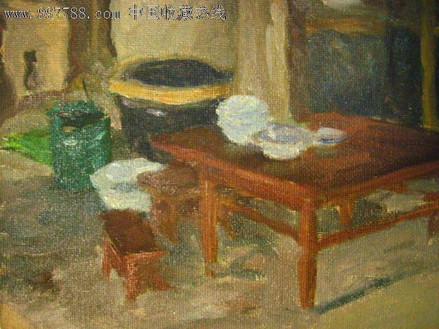 油画家董钢作品——油画之26:《室内静物》(包老保真)
