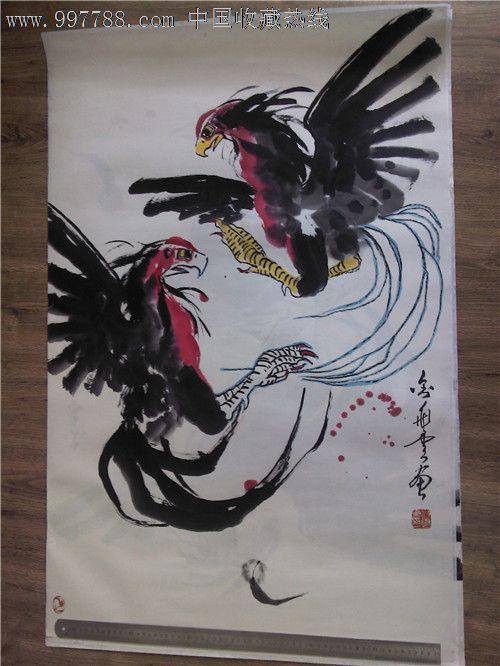 斗鸡图,水墨画法国画,写意画原画,原作/禽鸟花鸟举重若轻与驾轻就熟图片