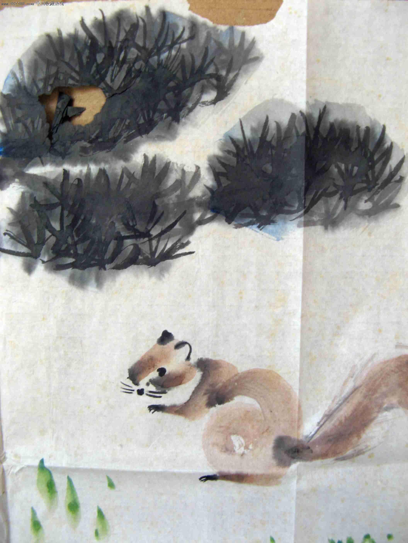 不错的小二尺横幅无款松鼠老画:双鼠松戏图
