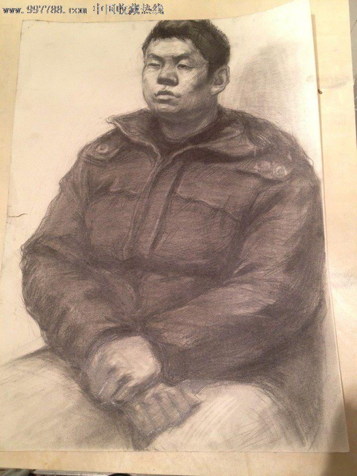 男中年半身带手人物素描