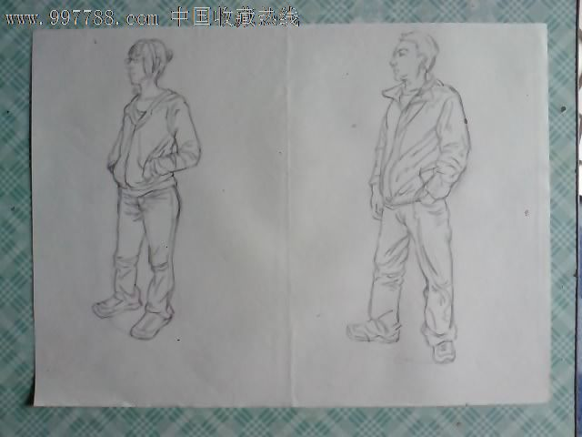 素描人物画稿(三十一)_价格10.