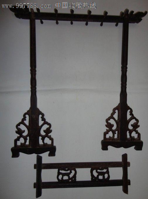 清代镂空雕刻组合式红木笔挂