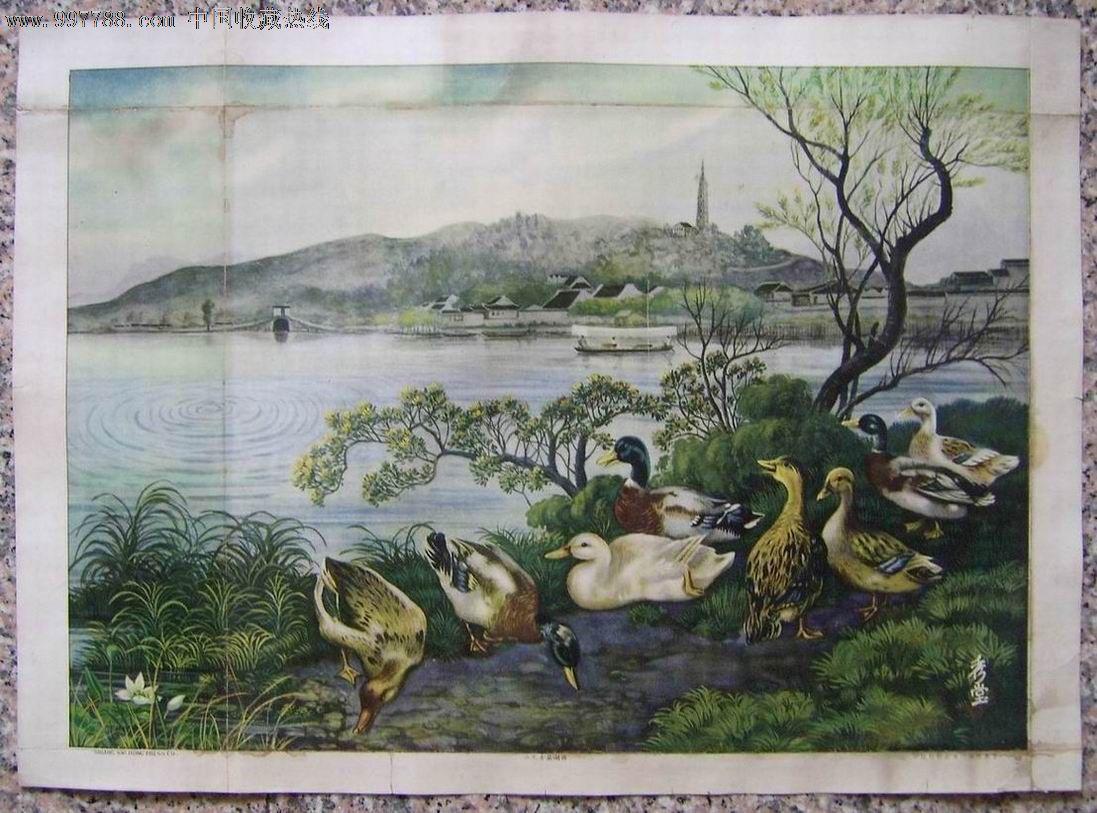 西湖风景四斗方--品种少见-se16151252-年画/宣传画