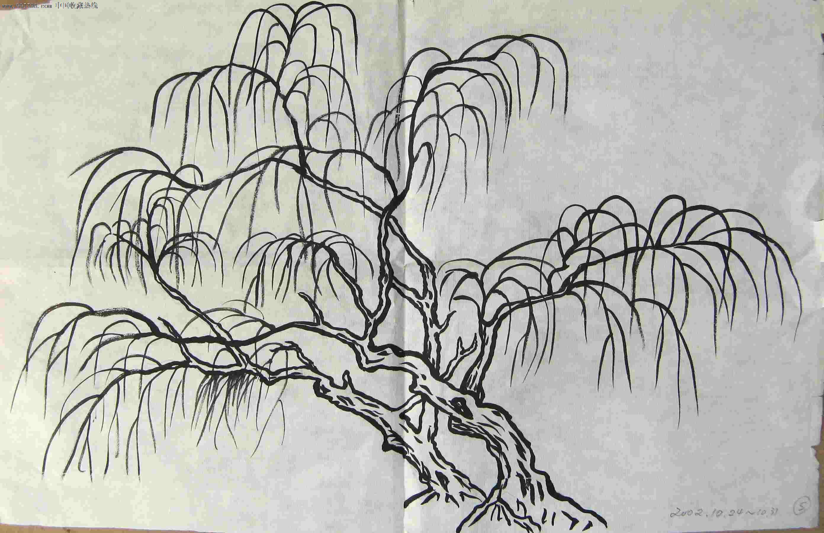 手绘效果图柳树图片