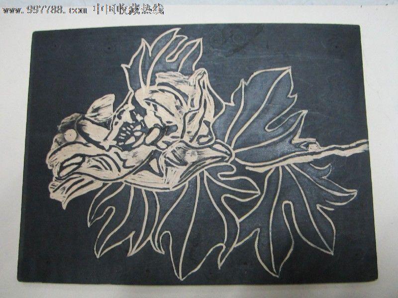 黑白版画素材花卉