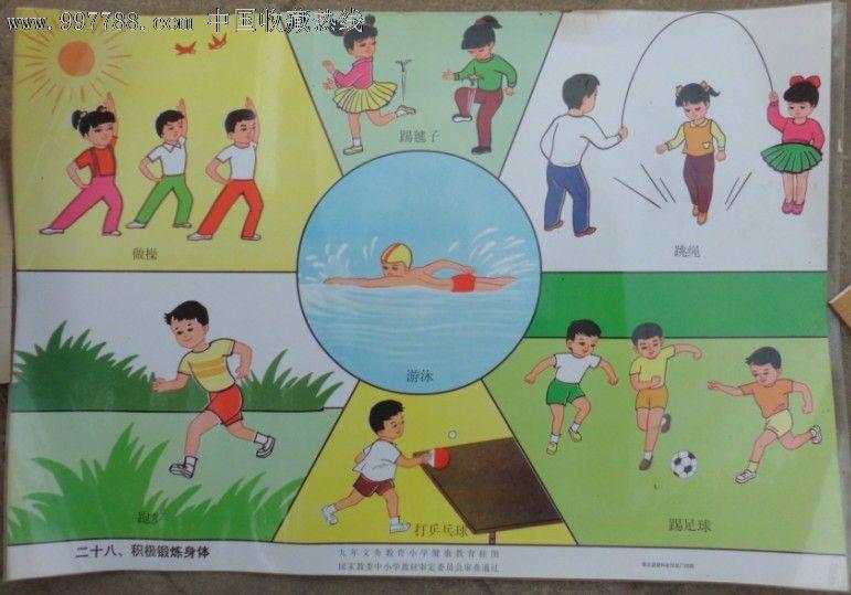 九年义务教育小学健康挂图-积极锻炼身体图片