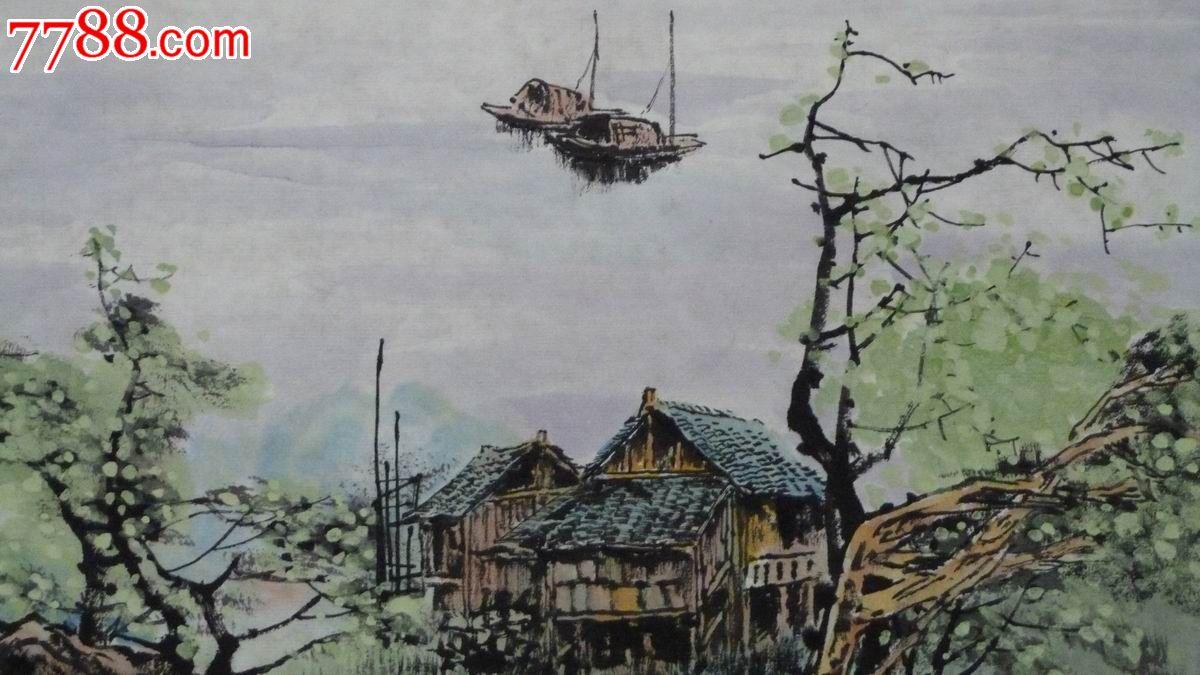 中国画写意山水画《江畔》