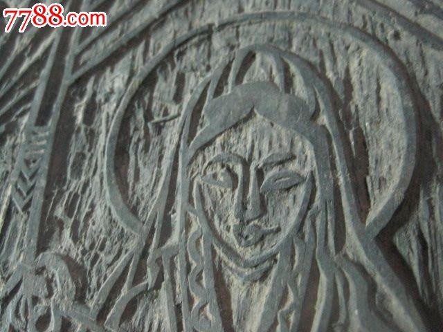 清代木刻人物佛像木板尺寸为16*23cm