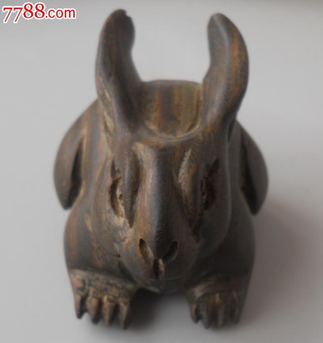 檀香木雕可爱兔子一只-se16521246-木雕摆件-零售-7788收藏__中国收藏热线