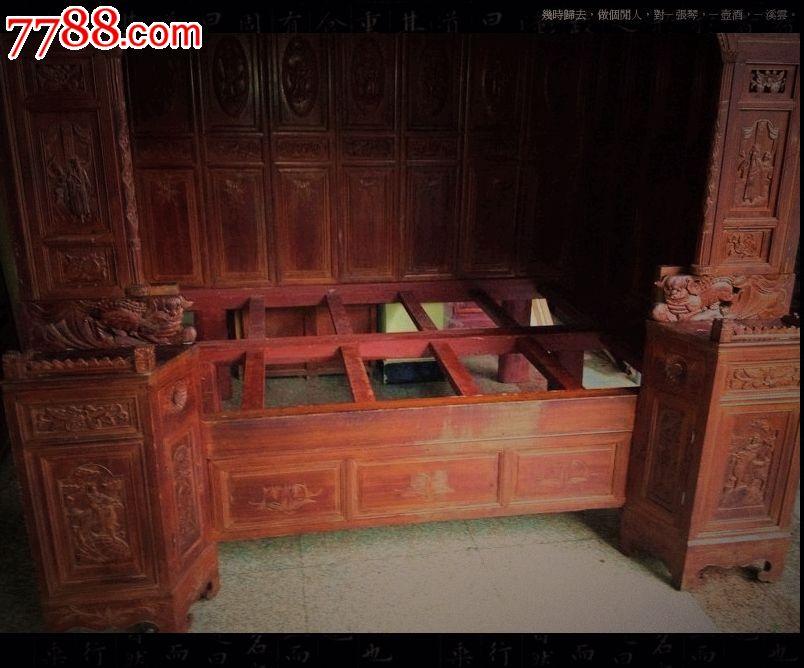明清古典家具-古旧镏金雕刻描花单进拔步床,木床/木榻