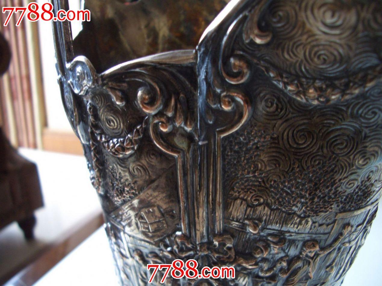19世纪维多利亚时期包银浮雕提花篮