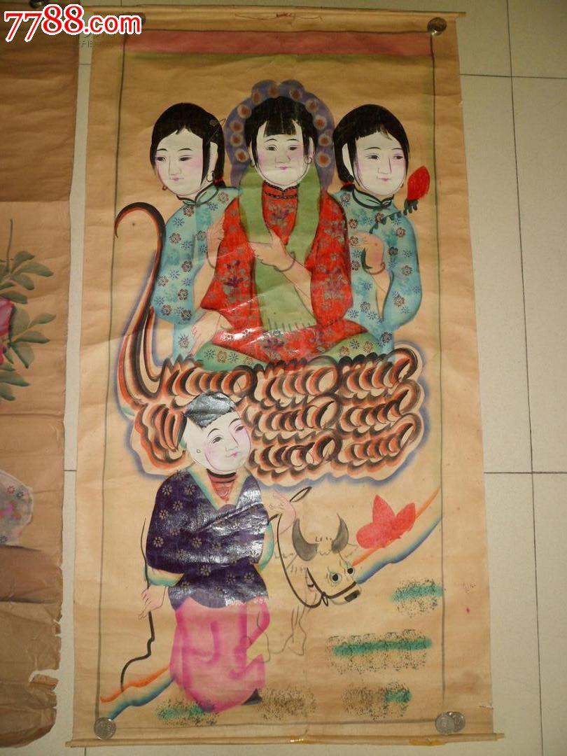 清代美女木板年画,2张合拍