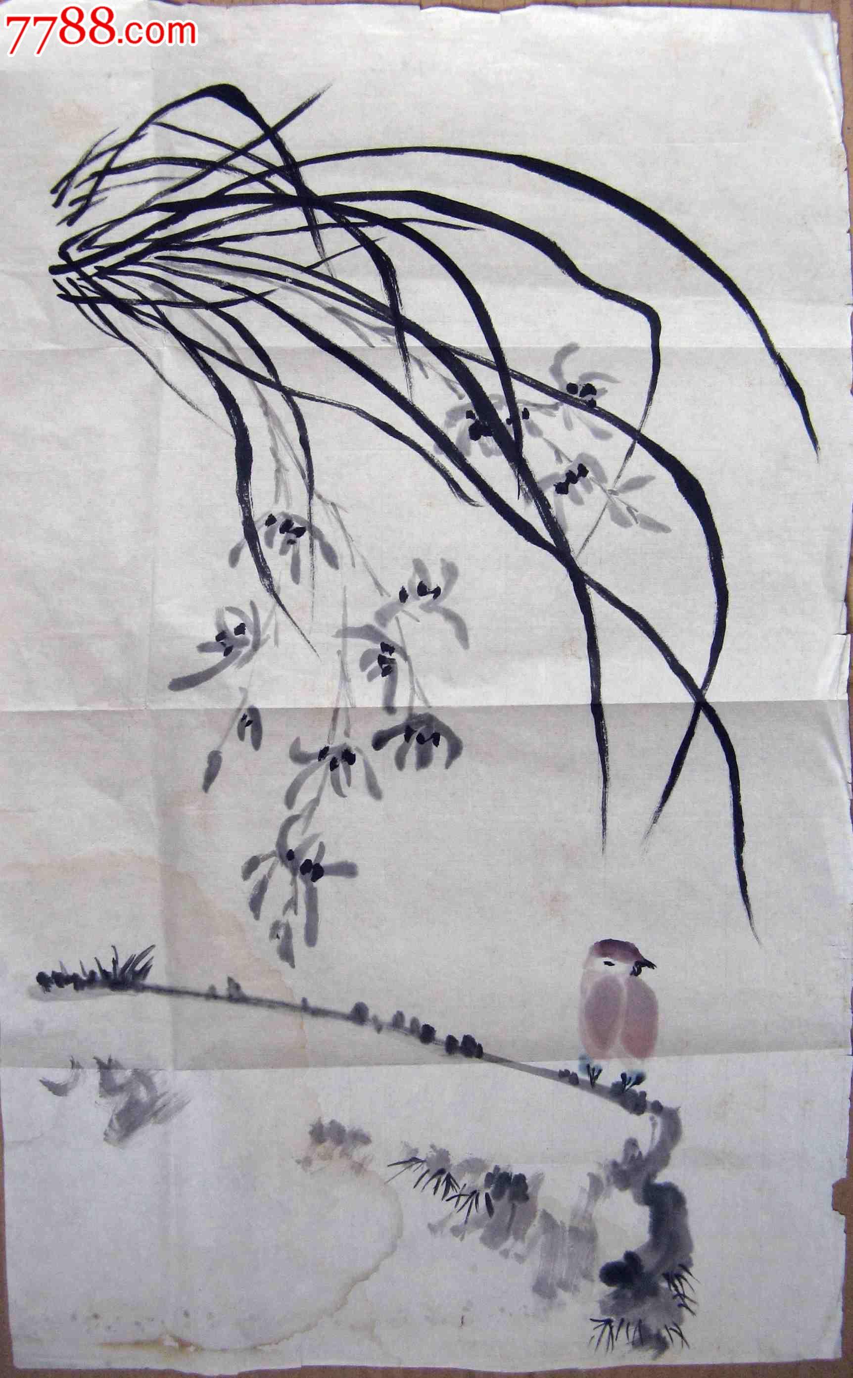 不错的小二尺条幅无款花鸟画:兰花麻雀_第1张_7788收藏__中国收藏热线
