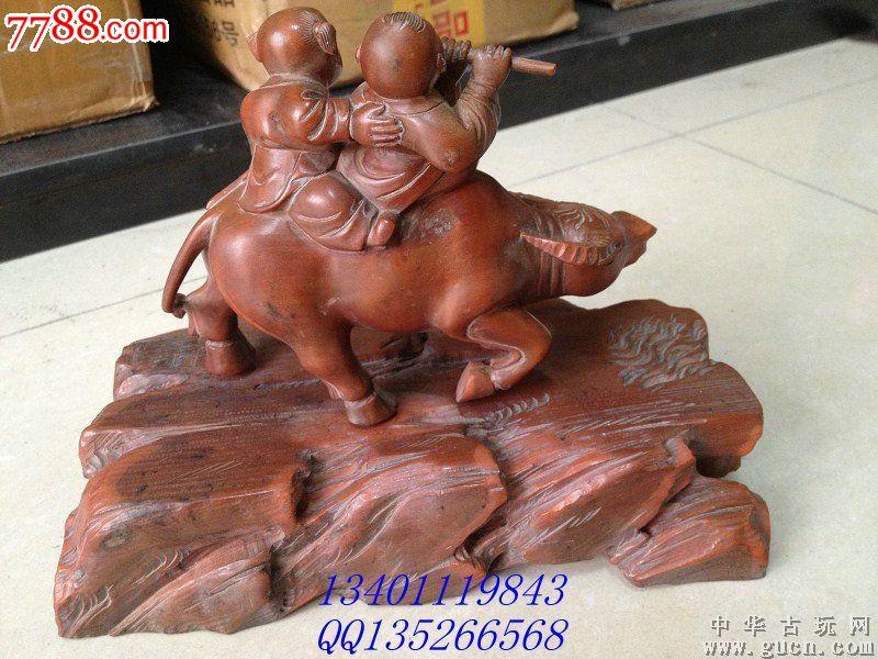 老黄杨木雕牧童长28cm