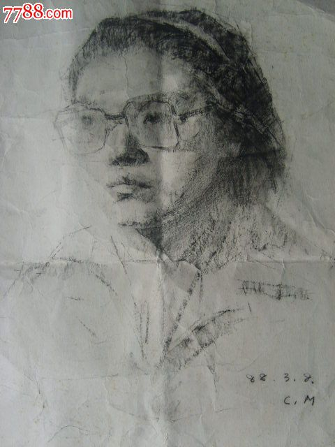 戴眼镜的女人_素描/速写