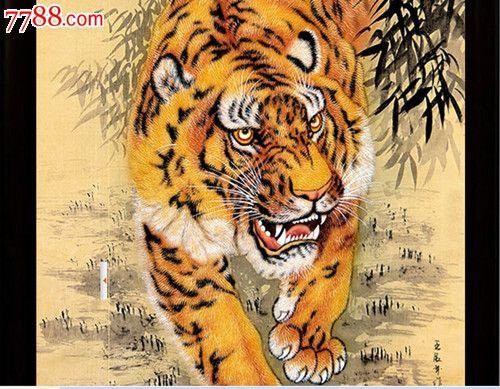 景德镇陶瓷装饰画瓷板画下山虎王者之风老虎