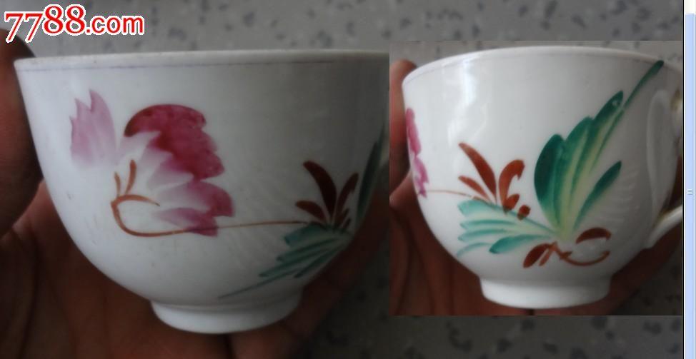 特价六七十年代手绘彩色花卉图茶杯水杯一套8个包老全品稀少瓷器标本