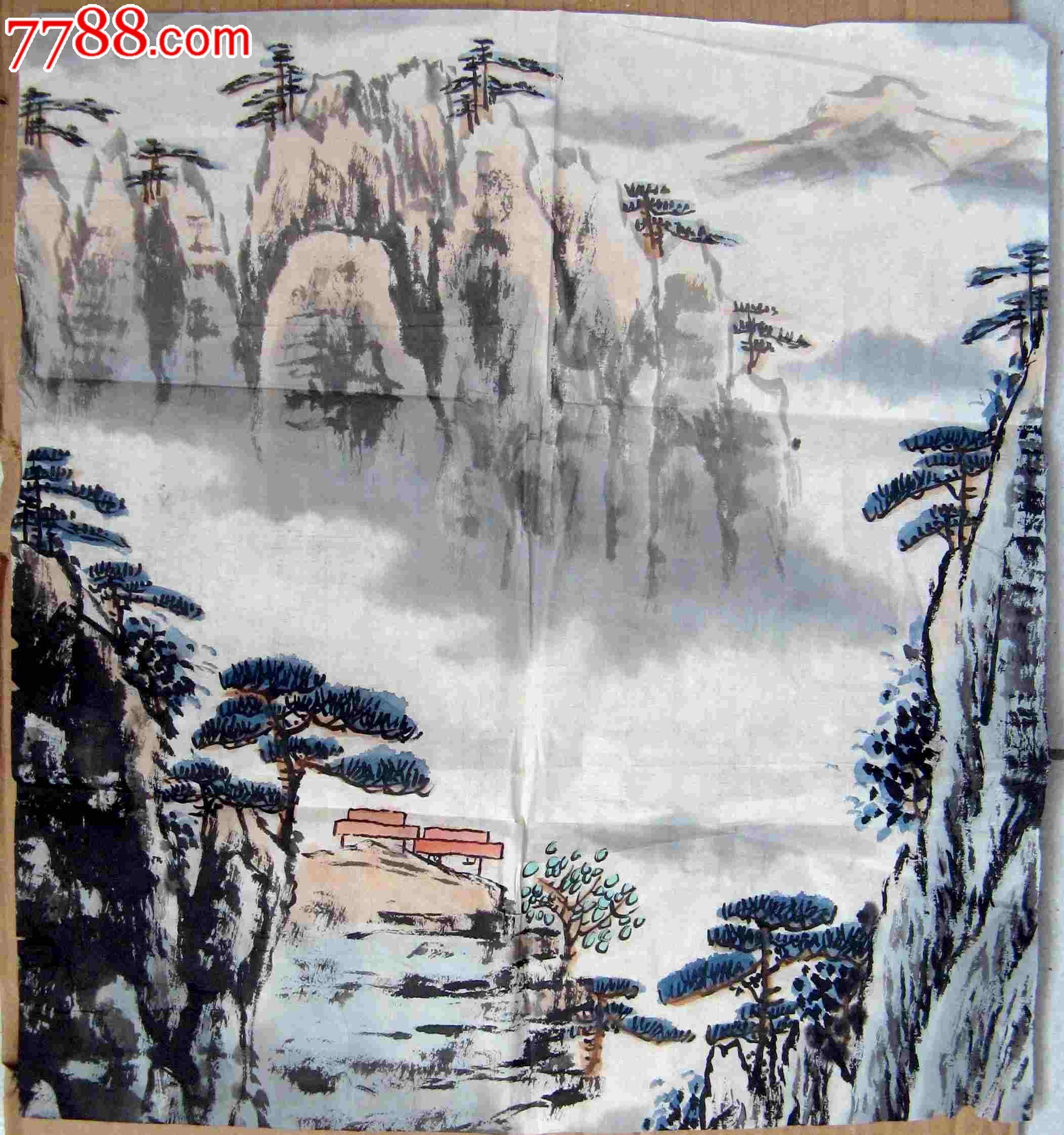 不错的近三尺斗方山水画:松岭云海图片