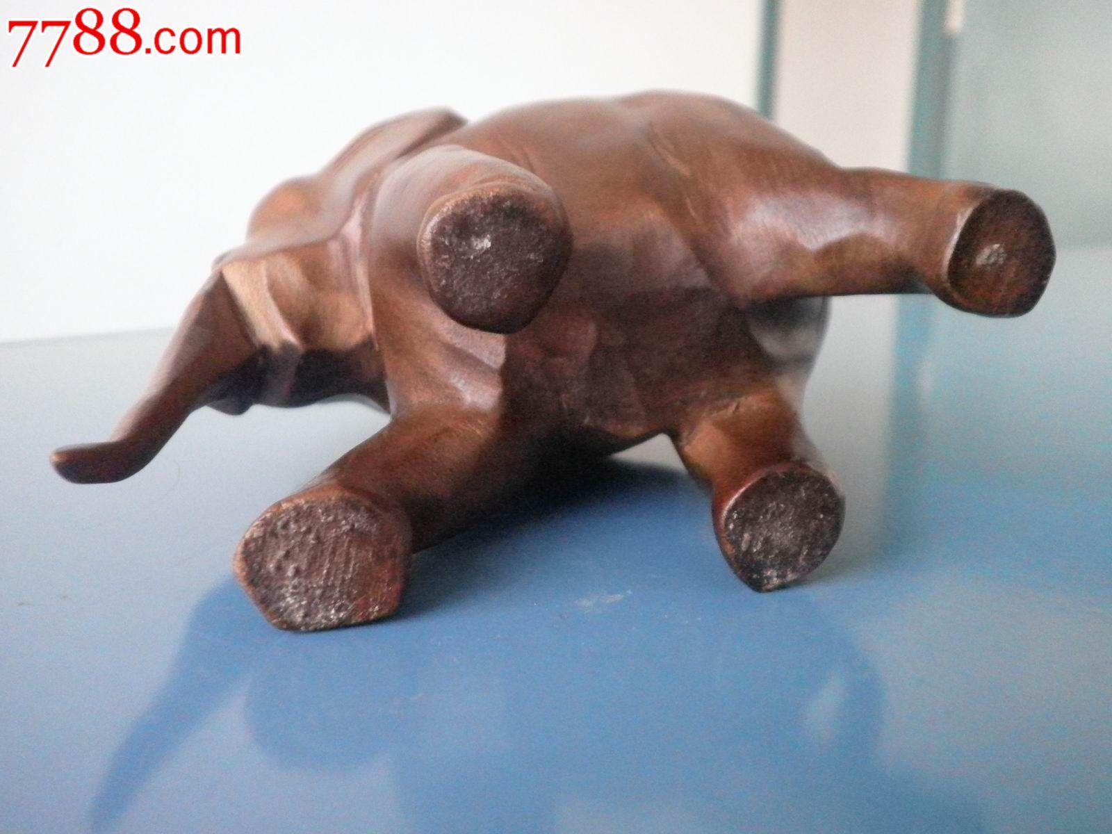 大象木雕摆件_木雕摆件