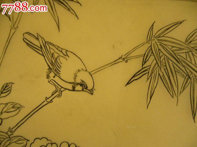 简单工笔花鸟画白描图片-原稿 花鸟
