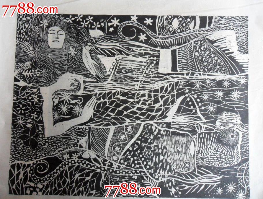 黑白木刻版画动物简单花卉