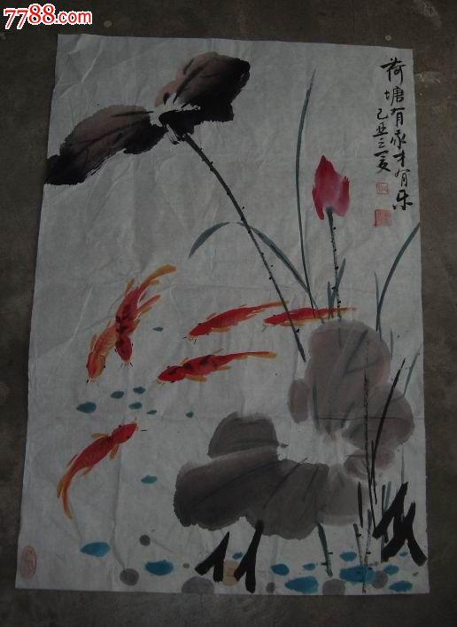 儿童写意荷花国画