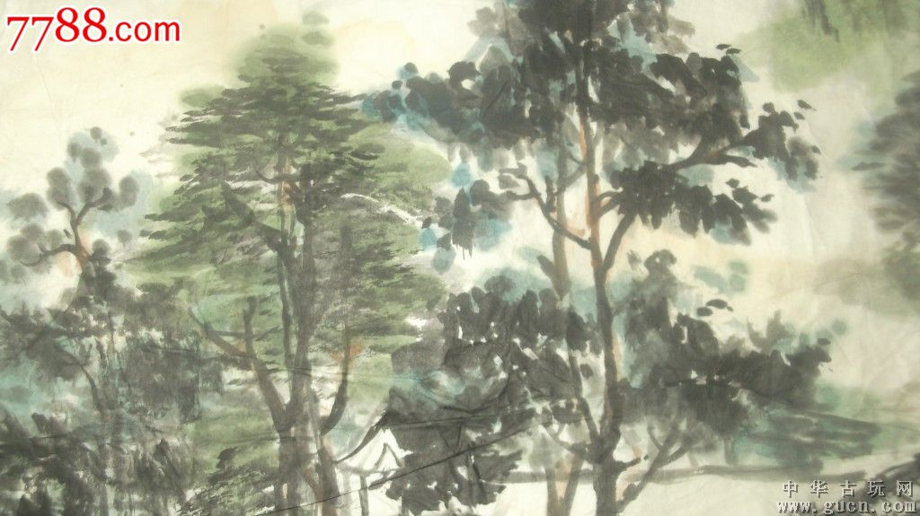 山水画,1980年画的,有房有桥有船有树